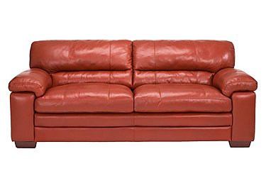 Carolina 3 Seater Leather Sofa in Mb-441c Red on Furniture Village