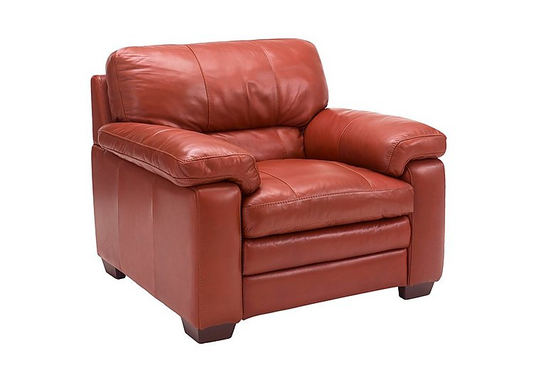 Carolina Leather Armchair in Mb-441c Red on Furniture Village