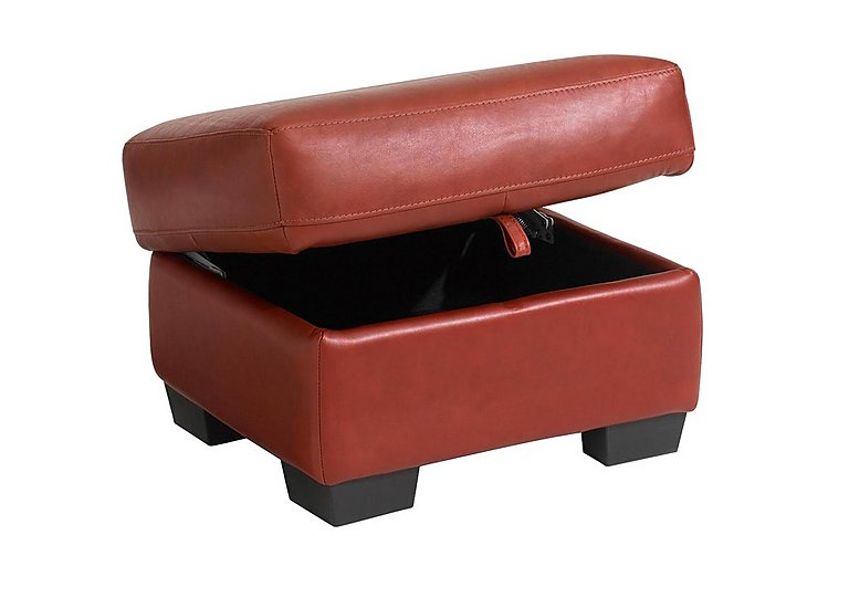 Carolina Leather Storage Footstool in Mb-441c Red on Furniture Village