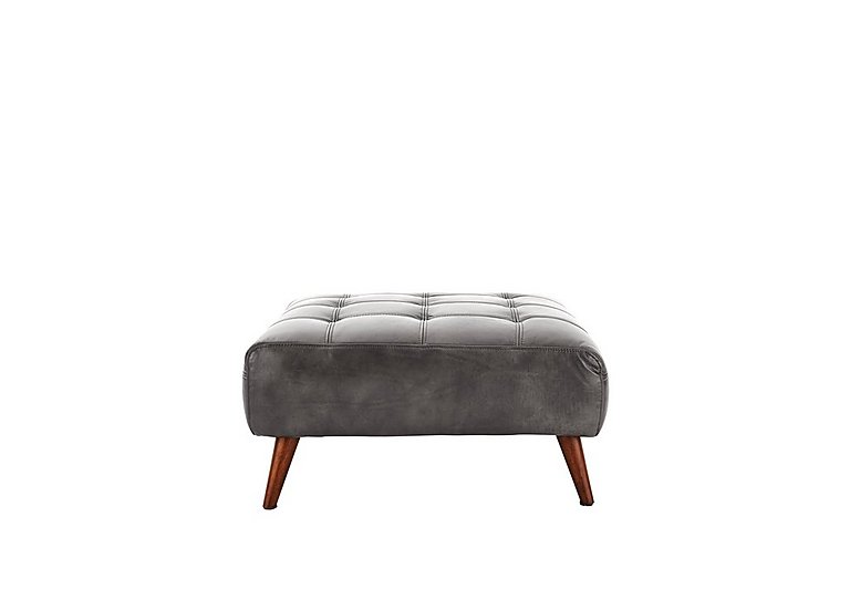 Chaser Leather Footstool in 280/06 Urban Grey on Furniture Village