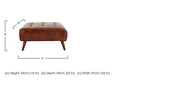 Chaser Leather Footstool in  on Furniture Village
