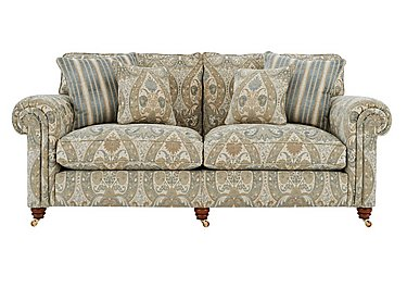 Chelsea Village 3 Seater Fabric Sofa in Tracery Garden Limestone Blue on Furniture Village