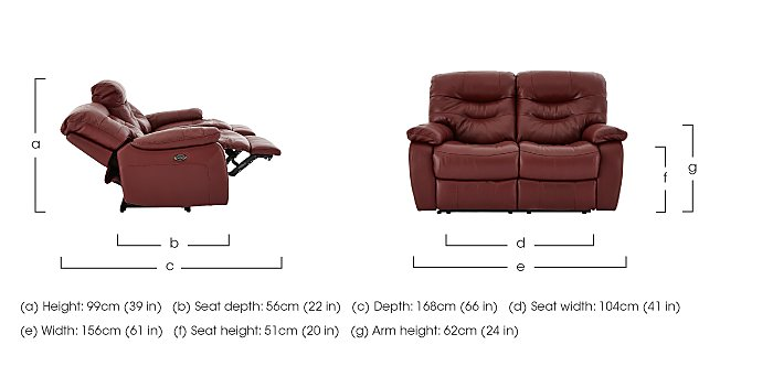 Relax Station Cozy 2 Seater Leather Recliner Sofa in  on Furniture Village