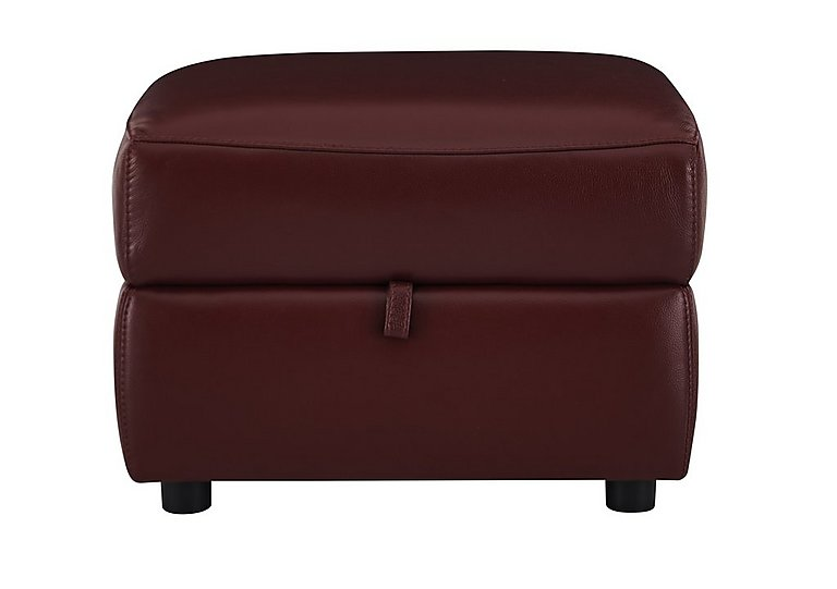 Relax Station Cozy Leather Storage Footstool in Nc-035c Deep Red on Furniture Village
