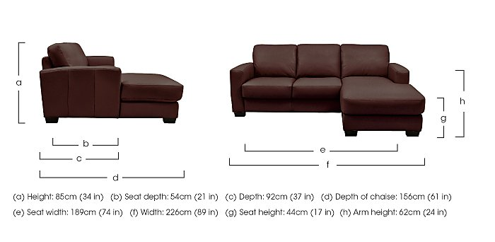 Dante Leather Corner Chaise in  on Furniture Village