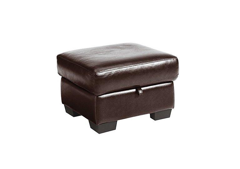 Dante Leather Storage Footstool in Jc-157e  Warm Brown on Furniture Village