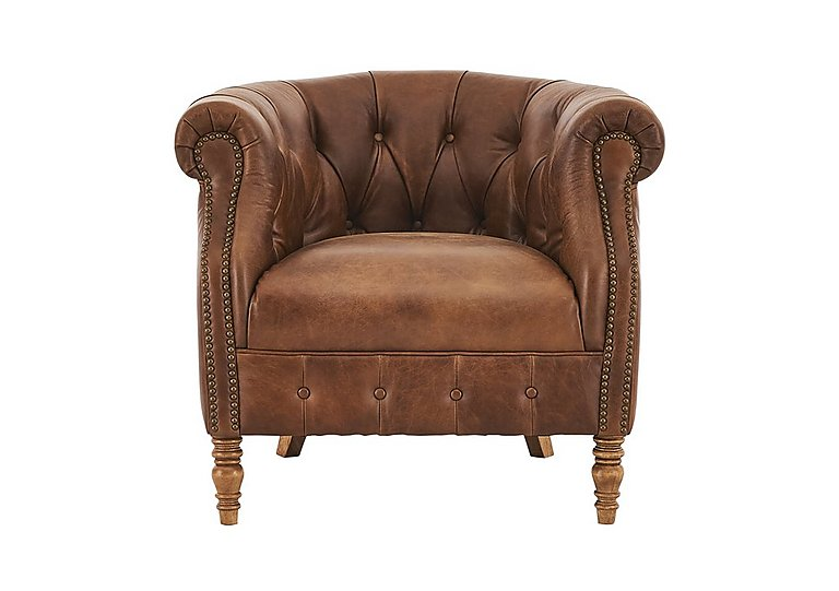New England Dukes Leather Armchair in Cal Original W-Oak Feet on Furniture Village