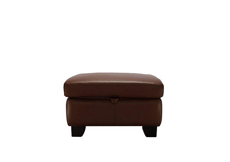 Gemma Leather Footstool in P210 Capri Oak on Furniture Village