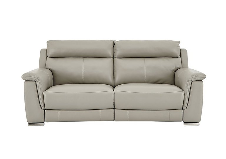 Glider 2 Seater Leather Recliner Sofa in Bv-946b Silver Grey on Furniture Village
