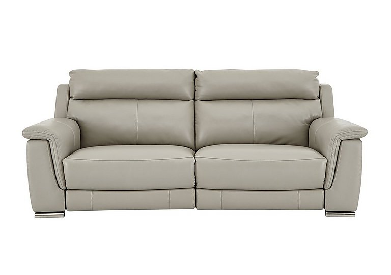 Glider 3 Seater Leather Recliner Sofa in Bv-946b Silver Grey on Furniture Village
