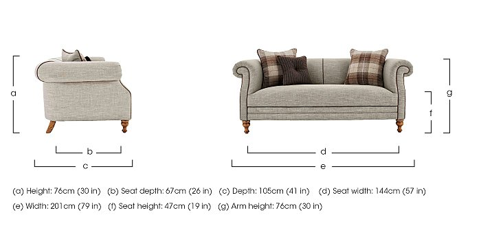 New England Hartford 3 Seater Fabric Sofa in  on Furniture Village