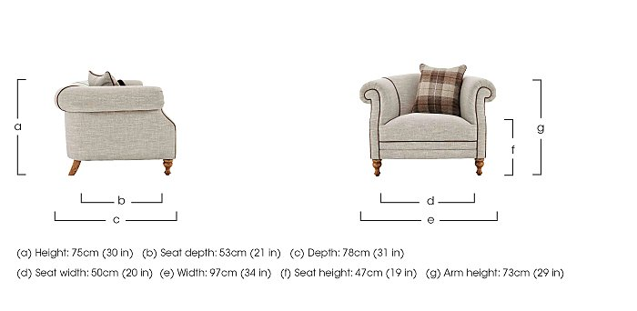 New England Hartford Fabric Armchair in  on Furniture Village