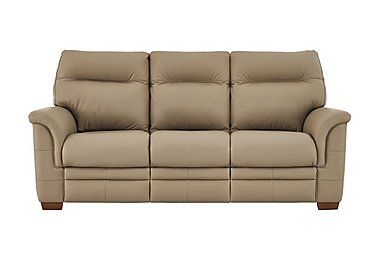 Hudson 3 Seater Leather Recliner Sofa in Lp53051-19 Como Taupe on Furniture Village