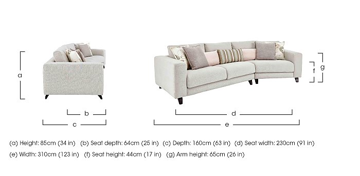 Kick K Angled Fabric Sofa in  on Furniture Village
