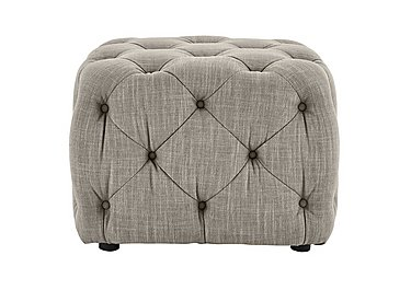 New England Maine Fabric Footstool in Merchant Linen Cloud Dark Feet on Furniture Village