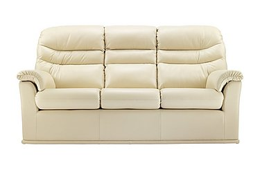 Malvern 3 Seater Leather Recliner Sofa in P206 Capri Cream on Furniture Village
