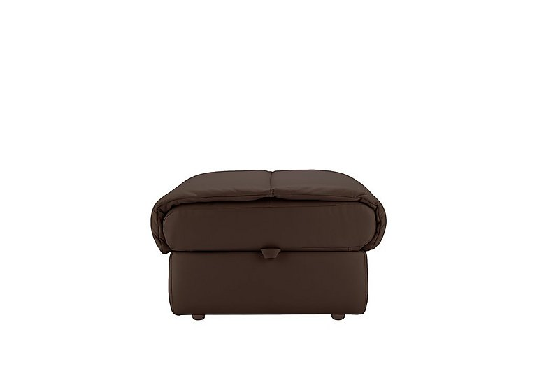 Mistral Leather Footstool in P200 Capri Chocolate on Furniture Village