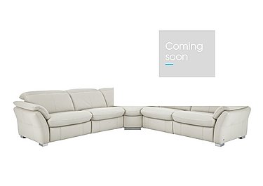 Mustang Leather Recliner Corner Sofa in Nc-156e Frost on Furniture Village