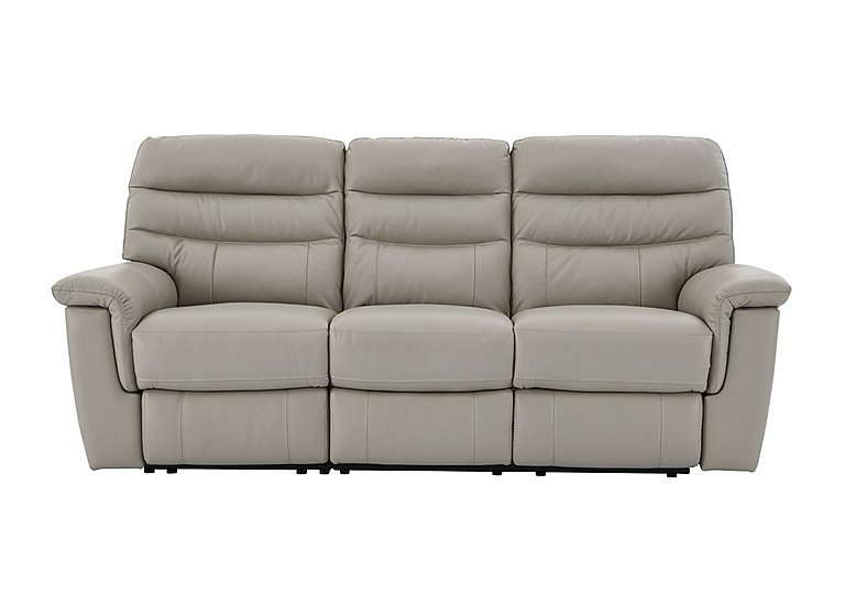 Relax Station Serenity 3 Seater Leather Recliner Sofa in Bv-946b Silver Grey on Furniture Village