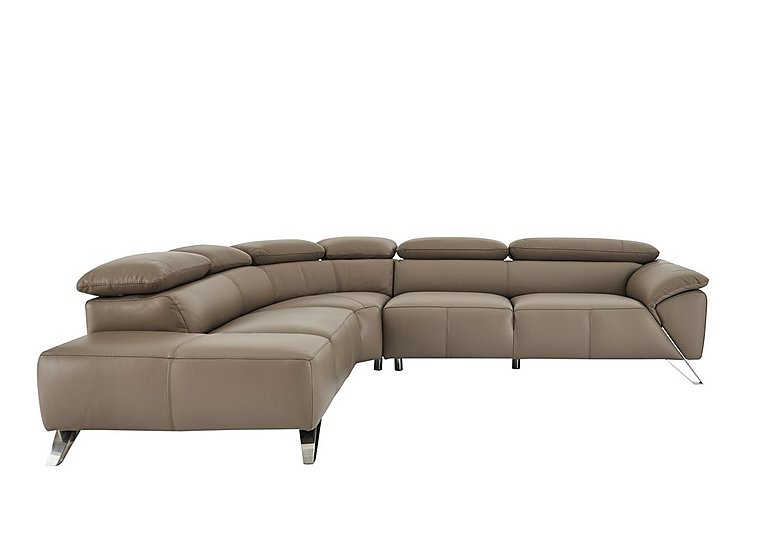 Tesla Leather Corner Sofa in Touch 1521 Taupe Scuro on Furniture Village