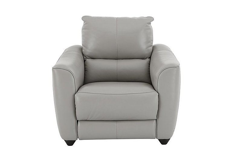Trilogy Leather Recliner Armchair in Nc-946b Feather Grey on Furniture Village