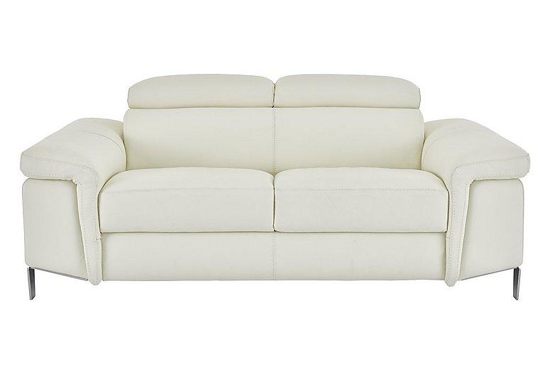 Vicenzi 2.5 Seater Leather Sofa in Torello Bianco Ottico on Furniture Village