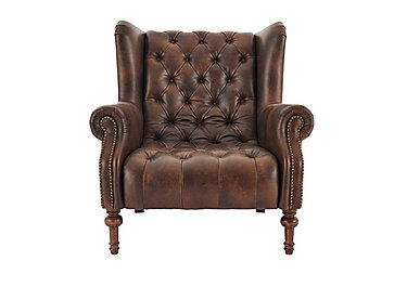 New England Windham Leather Armchair in Cal Original Dark Feet on Furniture Village