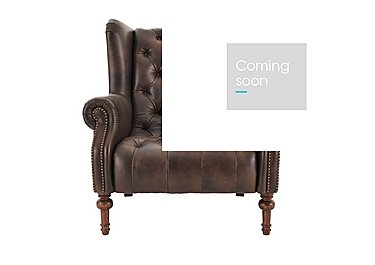 New England Windham Leather Armchair in Cal Smoke Dark Feet on Furniture Village
