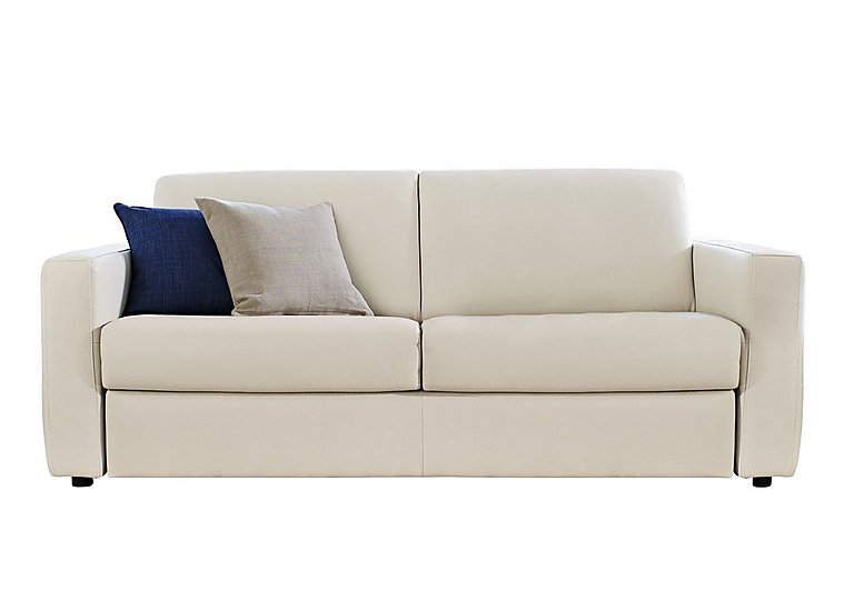 Arona 2 Seater Leather Sofa Bed in Denver 10bl Warm White on Furniture Village