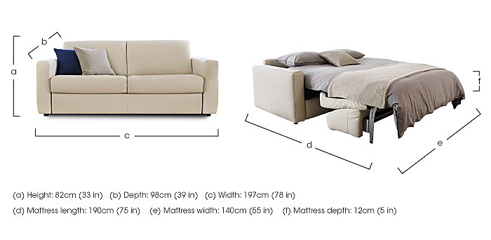 Arona 2 Seater Leather Sofa Bed in  on Furniture Village