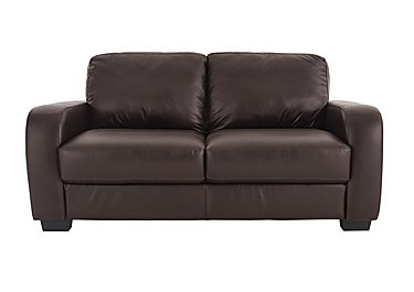 Astor 2.5 Seater Leather Sofa Bed in Go-174e Mahogany on Furniture Village