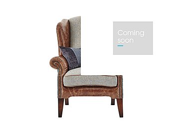 Westwood Leather Armchair in Sky Blue Wool/Velvet Slate on Furniture Village