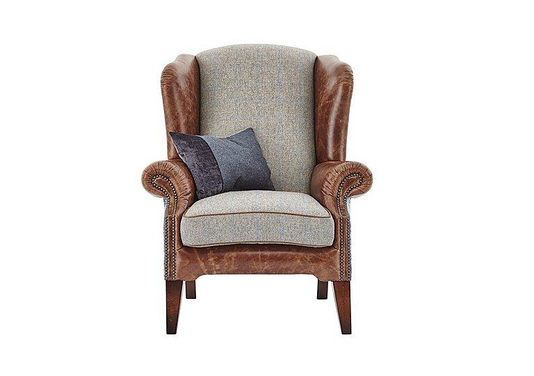 Westwood Leather Armchair in Sky Blue Wool/Velvet Slate on Furniture Village