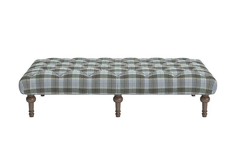 New England Addison Large Fabric Footstool in Blanket Plaid Sky Dark Feet on Furniture Village