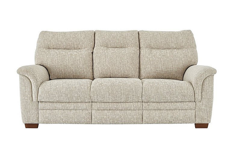 Hudson 3 Seater Fabric Recliner Sofa in Sabrina Beige on Furniture Village