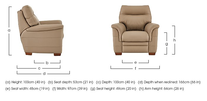 Hudson Leather Recliner Armchair in  on Furniture Village