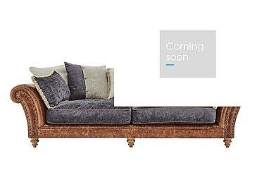 Westwood 4 Seater Leather Sofa in Grey Velvet/Velvet Slate on Furniture Village