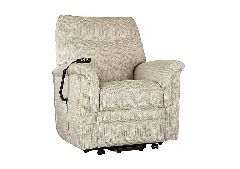 Hudson Fabric Lift and Rise Armchair in Sabrina Beige on Furniture Village