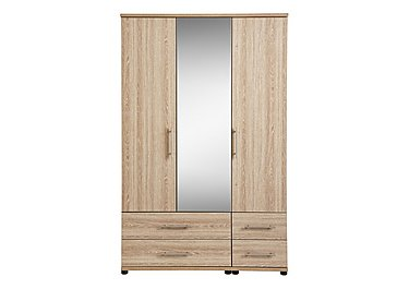 Amari 3 Door Mirrored Gents Wardrobe in Kkv - King Oak on Furniture Village