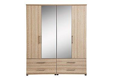 Amari 4 Door Centre Mirror Gents Wardrobe in Kkv - King Oak on Furniture Village