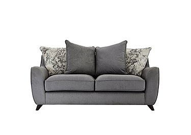 Carrara 2 Seater Fabric Pillow Back Sofa in Cosmo Pewter Marble Mist Df on Furniture Village