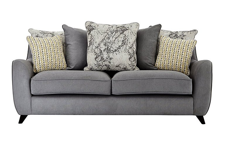 Carrara 3 Seater Fabric Pillow Back Sofa in Cosmo Pewter Marble Mist Df on Furniture Village