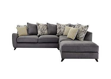 Carrara Fabric Pillow Back Corner Chaise Sofa in Cosmo Pewter Marble Mist Df on Furniture Village