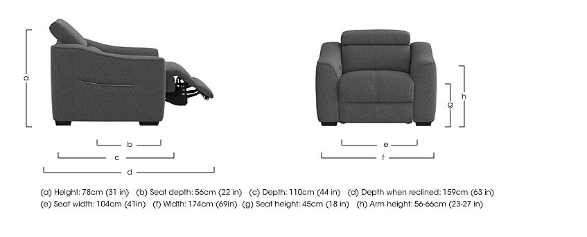 Elixir Fabric Recliner Armchair in  on Furniture Village