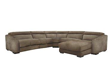 Elixir Fabric Recliner Corner Sofa in Bfa-Blj-R04 Tobacco on Furniture Village