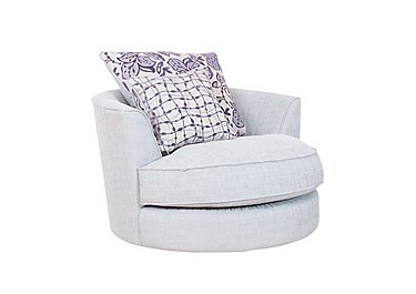 Fable Fabric Swivel Armchair in Barley Silver Cyprus Pple Chr on Furniture Village