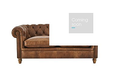 New England Newport 2 Seater Leather Sofa in Cal Original W-Oak Feet on Furniture Village