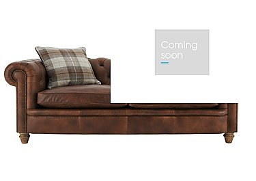 New England Newport 4 Seater Leather Sofa in Cal Original W-Oak Feet on Furniture Village