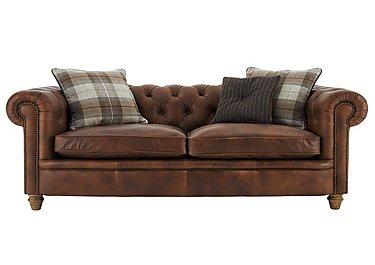 New England Newport 4 Seater Leather Sofa in Cal Original W-Oak Feet on Furniture Village