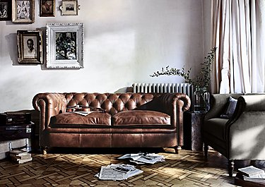 New England Newport 3 Seater Leather Sofa in  on Furniture Village